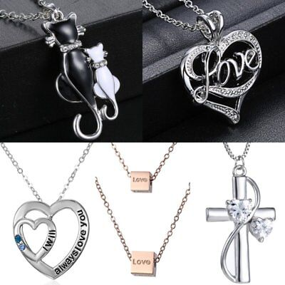 Stainless Steel Love Heart Cat Pendant Necklace Mothers Day Gift Women Jewelry