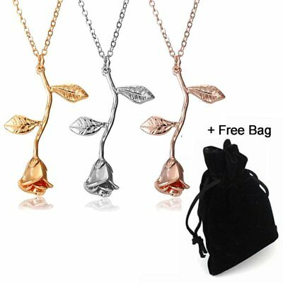 Mothers Day Rose Flower Gold Filled Pendant Necklace Women Wedding Jewelry Gift