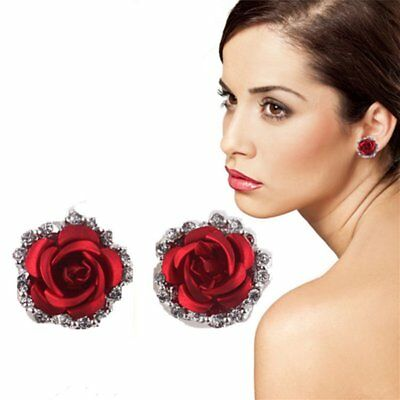 Fashion Rose Flower Crystal Clip-On Earrings Women Jewelry Mothers Day Gift New