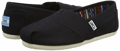 NEW TOMS Womens Classic Solid Black Canvas Slip On Flats Shoes NIB