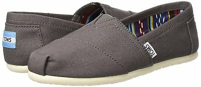 NEW TOMS Womens Classic Solid Ash Gray Canvas Slip On Flats Shoes NIB
