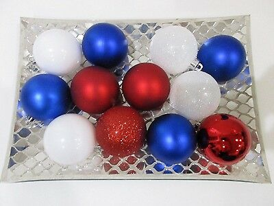 Patriotic 4th of July Red White Blue Shatterproof Ornaments 2-5 Set Of 12