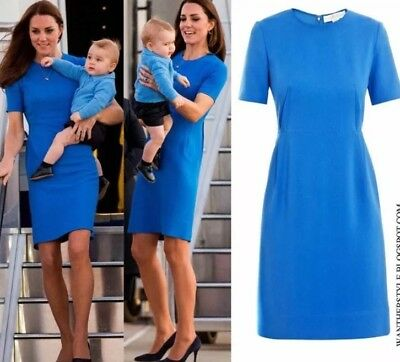 Stella McCartney Duchess Kate Middleton Ridley Blue Stretch Cady Dress 44 US 6 8