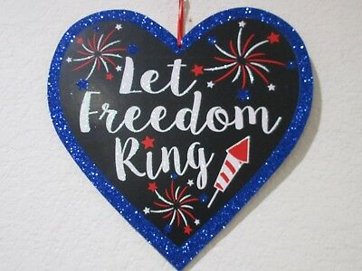 Patriotic 4th Of July Glitter Fireworks USA Faux Wood Hanging Wall Sign