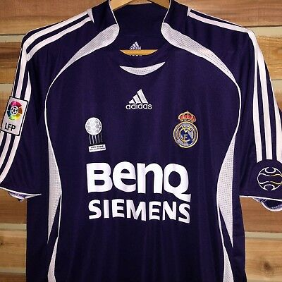 Mens ADIDAS Purple REAL MADRID Siemans Benq Club SoccerFootball Jersey XL