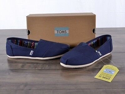 NEW Toms Classic Navy Blue Canvas Shoes Womens 8-5 MED Flats 10000873 Slip-on