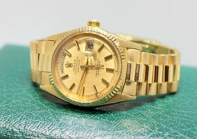 Mens  1966 Rolex Day-Date President 1803 18K Yellow Gold Watch Champagne Dial
