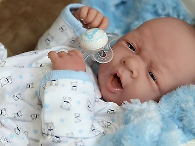 AWW BABY BOY DOGGIES Preemie Life Like Reborn Pacifier Doll - Extras
