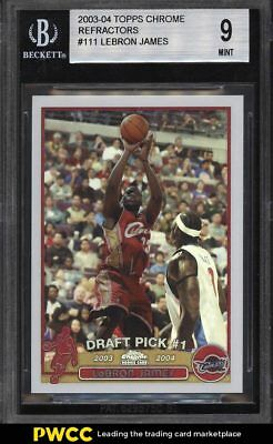 2003 Topps Chrome Refractor LeBron James ROOKIE RC 111 BGS 9 MINT PWCC