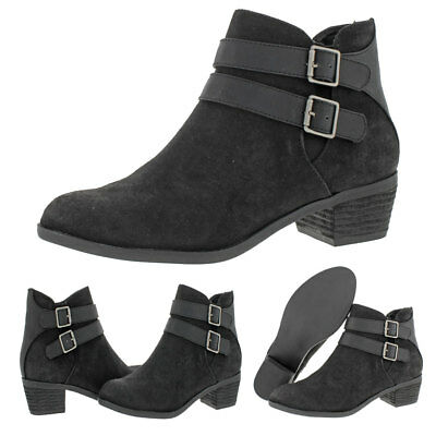 Madden Girl by Steve Madden Kest Womens Faux Suede Block Heel Ankle Boots Shoes