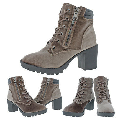 Madden Girl by Steve Madden Combat Womens Velvet Lace-Up Ankle Boot Shoes