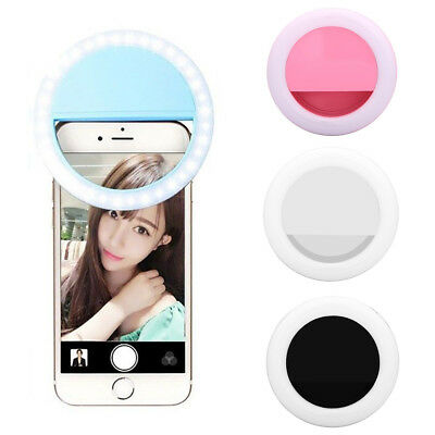 Rechargeable USB Clip-On Selfie Universal Mobile Phone LED Ring Fill Light Glitz