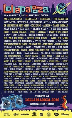 LOLLAPALOOZA 2015 Music Festival Lineup poster print home decor Choose Size