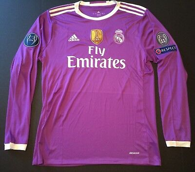 UCL 2016 Real Madrid Away Purple Soccer Jersey Adult Large Long Sleeve Ronaldo 7