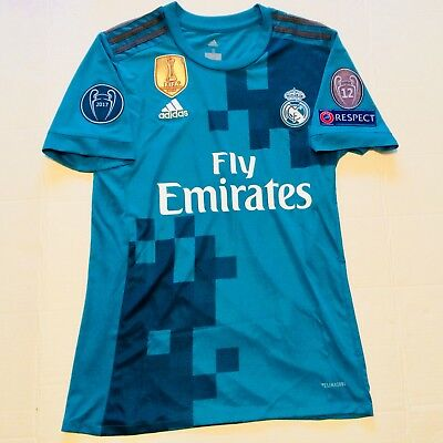UCL 2017 Real Madrid Third Teal Soccer Jersey Adult Small Ronaldo 7