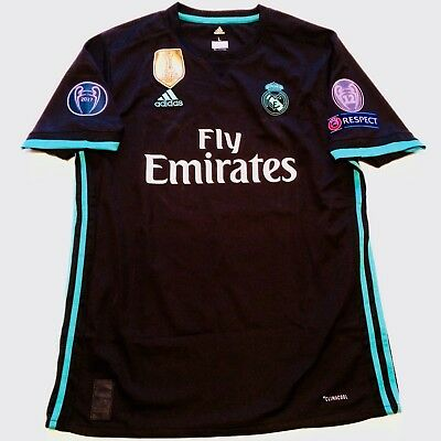 UCL 2017 Real Madrid Away Black Soccer Jersey Adult Large Ronaldo 7