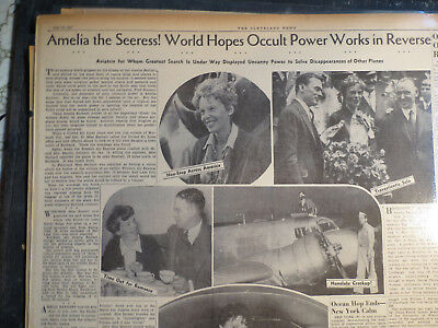 Amelia Earhart Aviation Newspaper 1937 AMELIA OCCULT POWER FIND CRASHED AIRPLANE