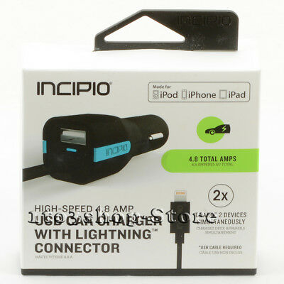 Incipio High Speed 4-8 AMP Auto Car Charger up to 2 Device wUSB Lightning Cable