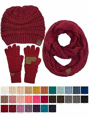 Jinscloset C-C 3pc Warm Chunky Soft Stretch Cable Beanie Gloves and Scarves Set