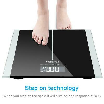 Digital Body Weight Scale 396lb 180kg LCD Bathroom Scales Tempered Glass-Battery