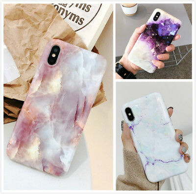 Reflective Pink Marble Pattern Protective Case Cover For iPhone Xs Max 8 7 Plus