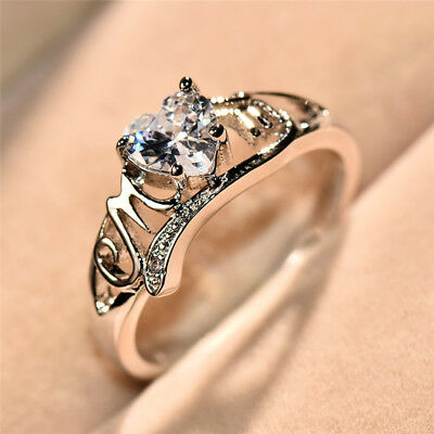 Heart Love Mom 925 Silver White Sapphire Ring Mothers Day Jewelry Gift Size5-10