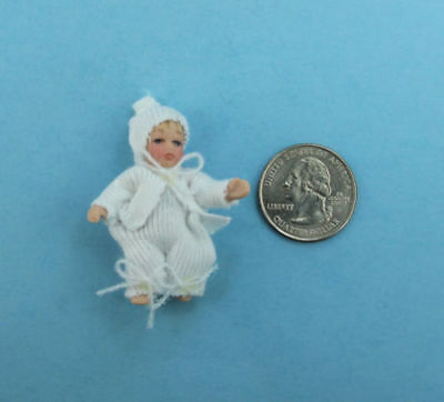 112 Scale Dollhouse Miniature Porcelain Baby Doll Dressed in White S5122