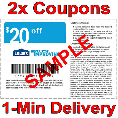 2x Lowes 20 OFF 100 INSTANT Discount Fastest DELIVERY-1COUPON INSTOREONLINE