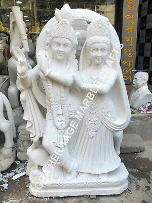 42 White Marble Radha Krishna Sculpture Handmade Love Gift Bedroom Decor E1160