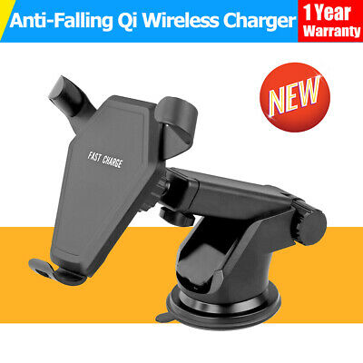 Anti-falling Qi Wireless Fast Charger Car Charging Phone Mount Holder Stand
