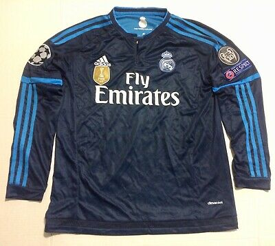 UCL 2015 Real Madrid Third Blue Soccer Jersey Long Sleeve Ronaldo 7 Adult Large