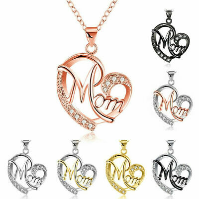 Charm Mothers Day Gift Crystal Mom Love Heart Pendant Chain Necklace