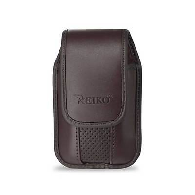 Brown Leather Case Vertical with pinch clip fits CoolPad Snap Flip phone