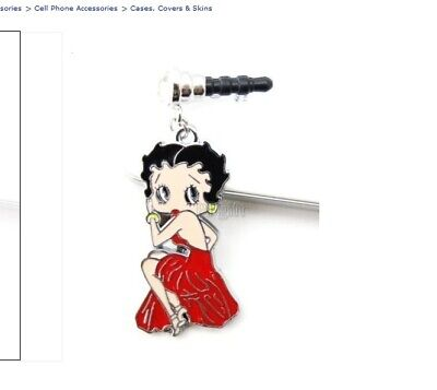 Betty Boop Red evening dress cell phone dust plug