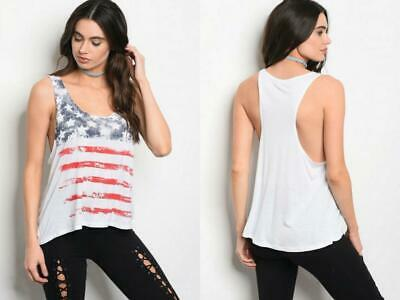 WHITE AMERICAN FLAG GRAPHIC TEE 4th OF JULY FOURTH TOP BOHO FESTIVAL S M L