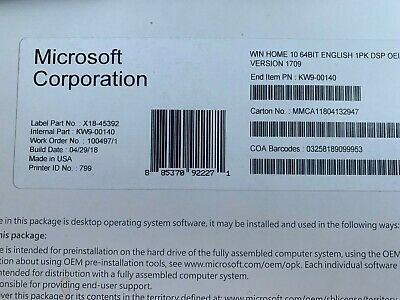 Microsoft Windows 10 Home 64 Bit Full VersionDVD - product Key-Sealed Brand New