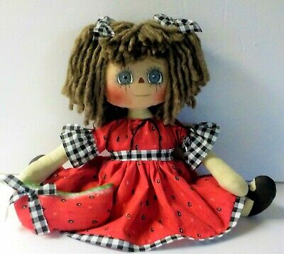 Primitive Raggedy Ann DOLL SUMMER MELON THYME PHOEBE WITH HM WATERMELON