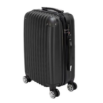 20 Expandable ABS Carry On Luggage Travel Bag Trolley Suitcase Black