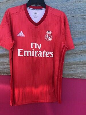 NEW WITH TAGS REAL MADRID AWAY THIRD RED ADULT MEN JERSEY SIZE XL