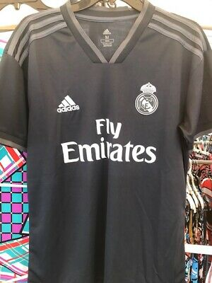 NEW WITH TAGS REAL MADRID OFF BLACK AWAY ADULT MEN JERSEY SIZE LARGE