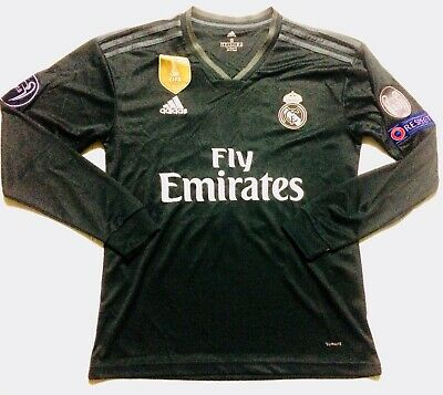 UCL 2018 Real Madrid Away Soccer Jersey Long Sleeve Bale 11 Adult S