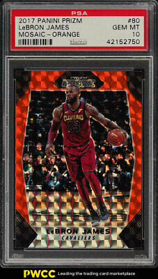 2017 Panini Prizm Mosaic Orange LeBron James 80 PSA 10 GEM MINT PWCC