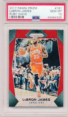 LEBRON JAMES 2017 Panini Prizm RUBY WAVE Refractor 191 Cavaliers SP Gem PSA 10