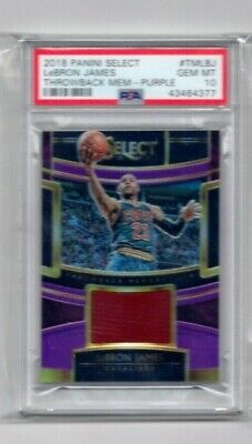LEBRON JAMES 2018 Panini Select THROWBACK Memorabilia Jersey PURPLE 9299 PSA 10