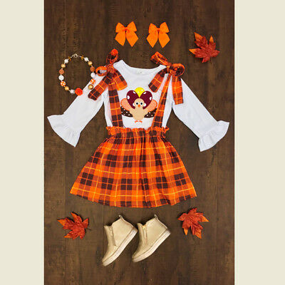 US STOCK Baby Girls Thanksgiving Turkey Clothes Tops-Suspender Skirt 3Pcs Outfit