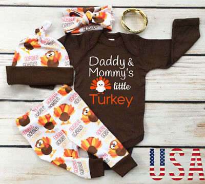 4Pcs Thanksgiving Gifts Clothes Infant Baby Boy Girl Tops Romper-Pants Outfits