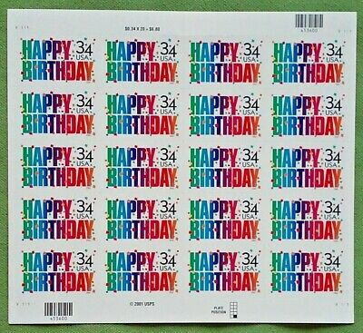 ONE each of HAPPY BIRTHDAY 34¢ 37¢ 39¢ US PS Postage Stamps  3558 3695 4079
