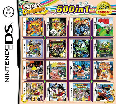 500 in 1 Game Games Cartridge Multicart For  DS NDS NDSL NDSi 2DS 3DS US