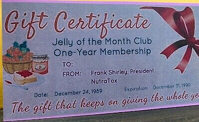 2 National Lampoons Christmas Vacation Jelly Of The Month Club Certificates