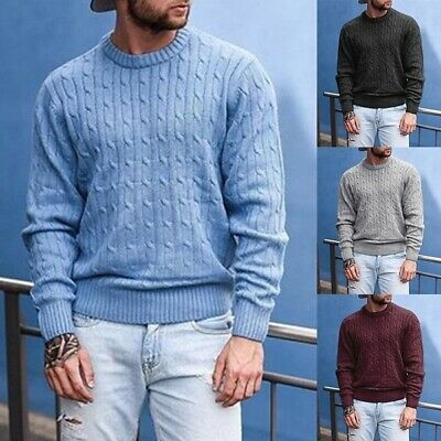 Mens Autumn Winter Knitting Pullover Tops Plus Size Soft Sweater Long Sleeve